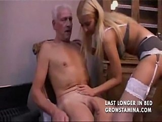 Lovely blonde fucks old man  free