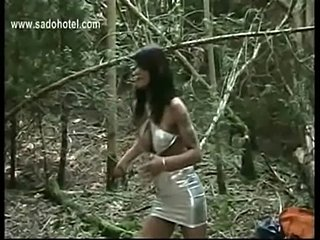 Dirty slave tied to a tree is hit very hard with a whip by h free