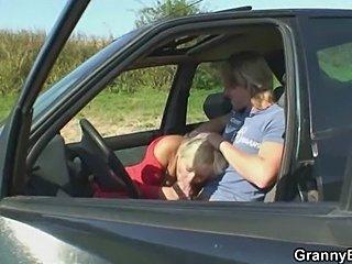 Granny fucked in the car - xHamster.com