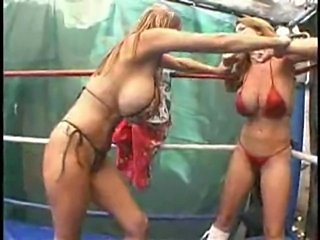 Topless fistfight in the ring  free