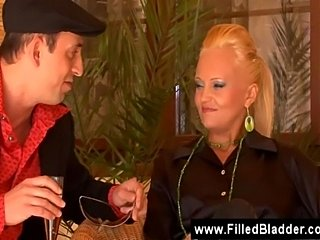 Jealous wife pisses on the blonde mistress of herhusband