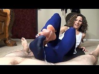 Crazy wife doing pantyhose footjob