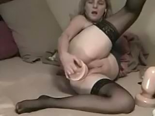 Dirty anal slut takes big plug in the ass on cam