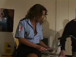 Two hot european policewomen licking each other, in locker room