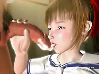 3D anime cutie with lactating tits sucks on his big cock for cum