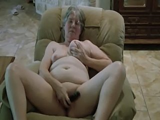Granny's new black dildo.  free