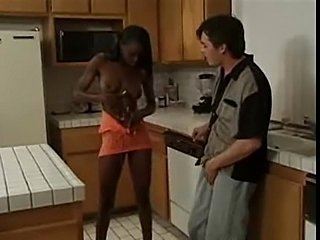 Skinny black chick hardcore with white guy