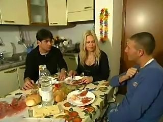 Two guys bang wife after breakfast