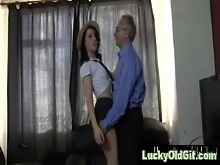 Slut in schoolgirl outfit sucks and fucks older man  free