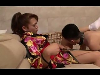 Fetished ladyboy plays with her slave