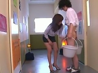 Asian Teacher Hot Blow and Handjob