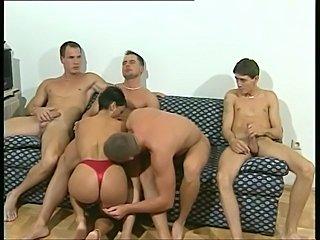 Four lucky fellas screw a dirty German slut