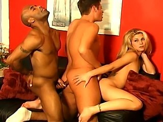 Bisexual threesome get hot for the camera.