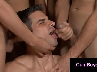 Dirty gay boy gets multiple facials in gay bukkake gangbang