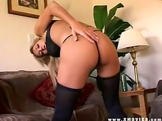 Trina Michaels playing with her pussy and getting fucked by two hung studs!