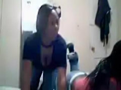 2 hot black girls stripping and blowing a  cucumber