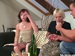 Home party with her horny mom