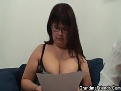 Two dudes bang huge titted mature bitch  free