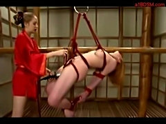 Bondaged girl getting her pussy fucked with electric dildo b free