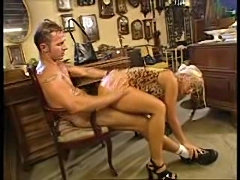 Blonde fucked hard in the antiques shop
