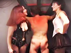 Male slave spanked hard by Amateur Domina