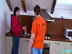 Sweet brunette fucks at the kitchen