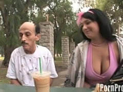 Young brunette nympho lusts for filthy old man dick