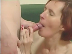 Skinny Granny in Stockings Fucks a Boy
