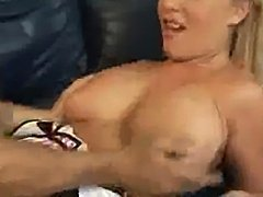 Sexy blonde with amazing tits roughly fucked