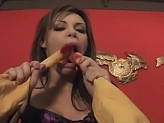 Very hot slut gets self fucked with bizarre objects andthen she is   double...