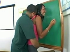 Sexy black teacher fucking hard inside the classroom