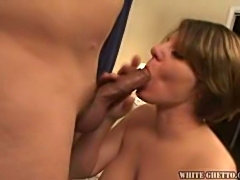 Short Hair Mama Sucks A Nice Cock & Lots Of Cum In Her Pussy