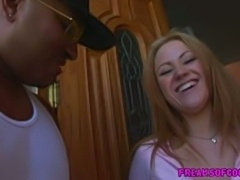 18 year old blonde Sindee Jennings sucking huge black cock and face blasted