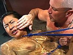 Helpless slut gets water bondage