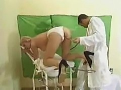 Mature blonde is getting in private with a doctor