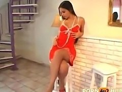 Pornstar Eve Angel in red dress playing with herself