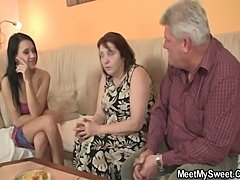 Nasty girl fucking with her BF's old parents