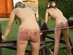Girls get spanked bondage style