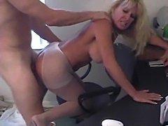 Naughty blonde secretary milf fucked hard