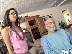 Young nurse helps sucks and fucks the shit out of two old dudes