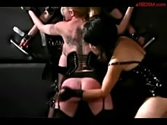 2 slave girls tied to wall spanked with stick whipped by mis free