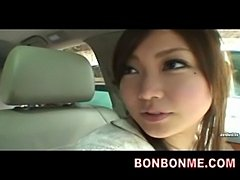 cute jap girl oral blowjob in car