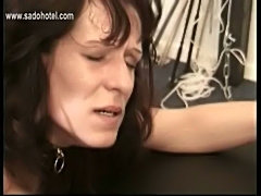 Slave with great body and nice tits plays with her pierced p free