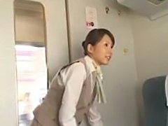 Extra sex service by horny japanese bullet train stewardess for bored...