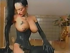 Gorgeous pierced boobies of weirdo dominatrix