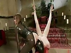 Group of mistresses take sex slaves and force them to fuck in extreme dirty sex