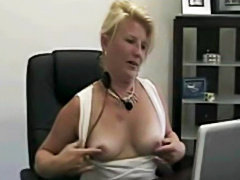 Slutty milf secretary webcam show in the office