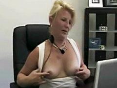 Slutty milf secretary webcam show in the office