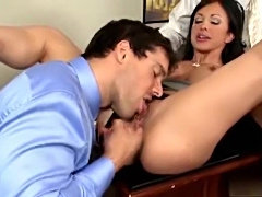 Sexy boss lady enjoys their two dicks