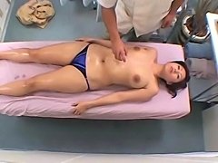 Young Teacher gets a reluctant orgasm by her massager in a health spa. She...
